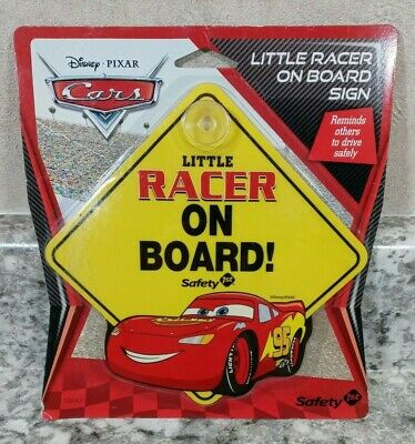 LITTLE RACER ON BOARD Window Sign Disney Cars Lightening McQueen Safety 1st