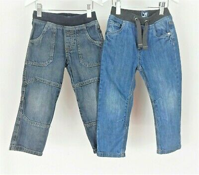 Boys Jeans Bundle Aged 3-4 Years TU Blue Denim Jersey Waist Band