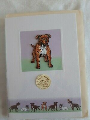 Staffordshire Bull Terrier Embroidered Card.