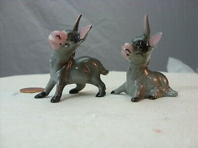 Lot of 2 Hagen Renaker mini Donkey Papa-sitting Mama-holes in mouth for flowers