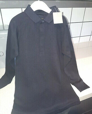 Bnwt Boys Black Long Sleeve Smart Polo Top Age 6 Years Next