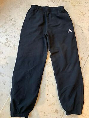 Adidas Boys Black Tracksuit Training Trousers Climalite Zip Ankles Age 9 - 10