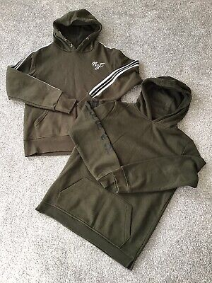 x 2 Primark Boys Hooded Sweatshirts In Khaki Age 12-13 Years