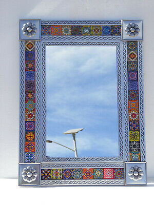 PUNCHED TIN MIRROR with mixed talavera tile wall deco mexican ethnic folk art