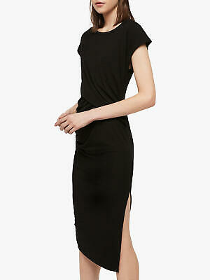 All Saints Womens Paloma Designer Long Body Con Wrapping Detailed Dress Black