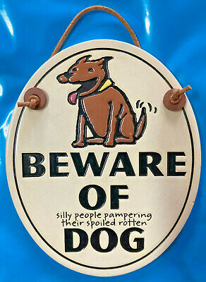 BEWARE OF silly people spoiling their spoiled rotton DOG ceramic PIT BULL Pibble