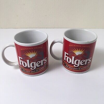 """Folgers Mug """"THE BEST PART OF WAKIN' UP"""" Red coffee Mugs (2)"""
