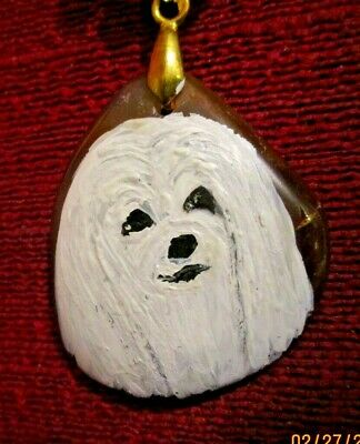Havanese hand-painted on  rounded triangular pendant/bead/necklace