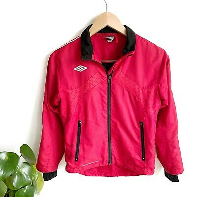 VGC Umbro Windbreaker Track Shell Jacket Red Size 6 Sports Jogging