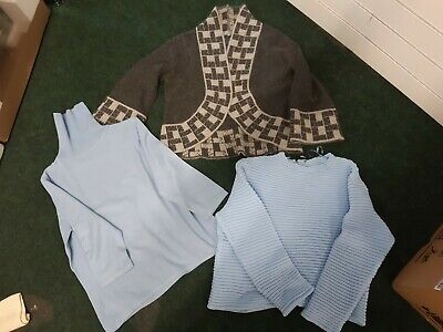Ladies Bundle Of 3 Jumpers - M And S - Blue/Blue/Grey - Size 14/16