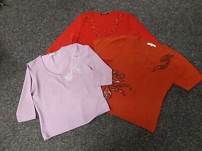 LADIES x 3 SUMMER JUMPERS/TOPS - LILAC/RUST/RED WITH DETAILS - SIZE 14/16
