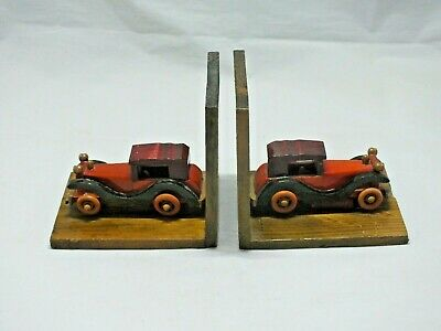 Vintage Pair Of Hand Made Wooden  Classic Car Book Ends Boy Kids Room