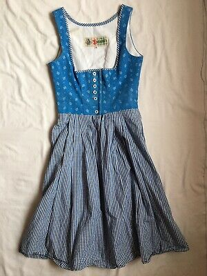 Vintage Checked And Floral Blue/ White Dirndl Dress Mariandl's 32 4 6 XS