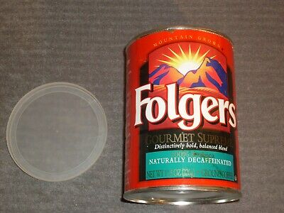 Folgers Collectible Tin.  11.5 oz, paper label, w/top, Naturally Decaffeinated