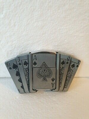 Gaming Cards Metal Belt Buckle With petrol Lighter