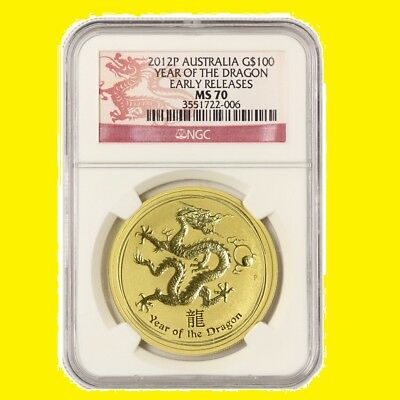 2012 AUSTRALIA 1 OZ 9999 GOLD Lunar DRAGON NGC MS 70 ER RARE,LAST one.