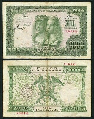 Spain Banknotes 1000 Pesetas 1957 Without Series BC / ) F