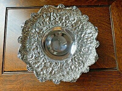 Tiffany & Co 1876 REPOUSSE Floral Fern 268g Sterling Silver Compote Dish NO MONO