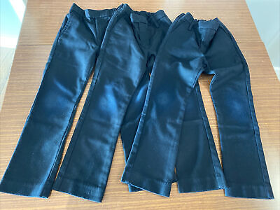 3 Pairs Next Boys Navy Flat Front Formal School Trousers age 6 slim fit