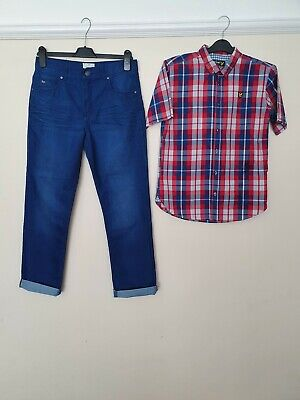 Boys Age 14/15 Chino Trousers / Jeans And shirt.