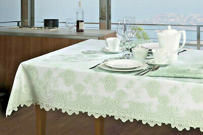 White Mint Tablecloth  Heather Lace Overlay 2  Layers pieces Set Floral  Dining