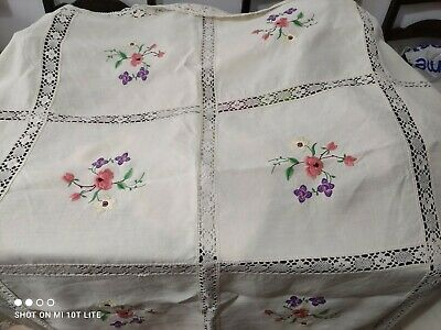 """Vintage embroidered Tablecloth. Linen & lace 68"""" x 50"""" approx. Charity."""