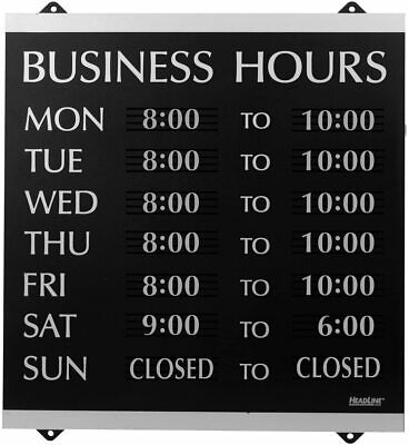 Century Series Business Hours Sign with 176 1 4 Characters Suction Cups