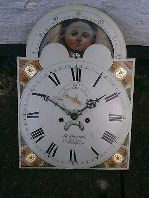 14x20 INCH 8 DAY MOONPHASE GRANDFATHER LONGCASE  CLOCK DIAL AND MOVEMENT C1820
