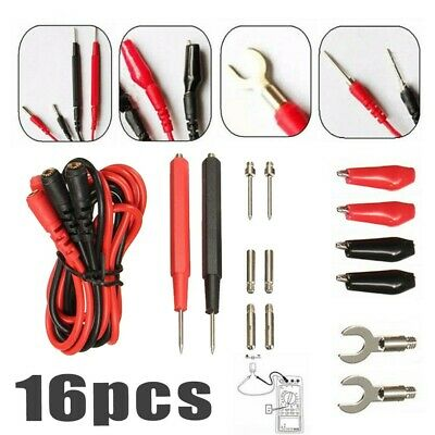 Multimeter Test Leads 16pcs Tool Voltage Connector Set Crocodile clips