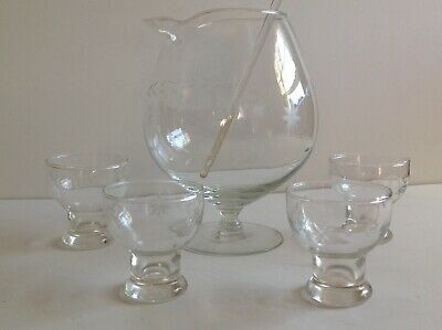 Vintage Glass Cocktail Pitcher Etched Starburst and  4 Matching Glasses