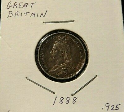 1888 Great Britain 6 Pence Silver World Coin