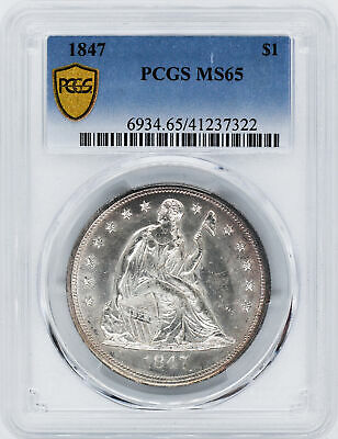1847 Liberty Seated S$1 Pcgs Ms 65