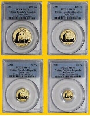 2011 CHINA pure GOLD PANDA 4 COINS-SET PCGS MS 70 RARE