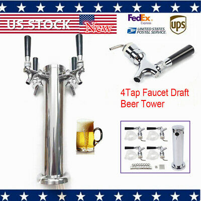NEW 304 Stainless Steel 4 Tap Faucet Draft Beer Tower Homebrew Bar For Kegerator