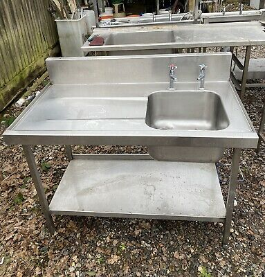 1.15M Long Stainless Steel Single Bowl Sink Unit With Taps.