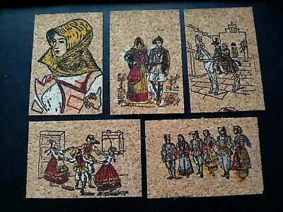 Set Of 5 Vintage 1970s Cork Postcards From Sicily Italy, Different.