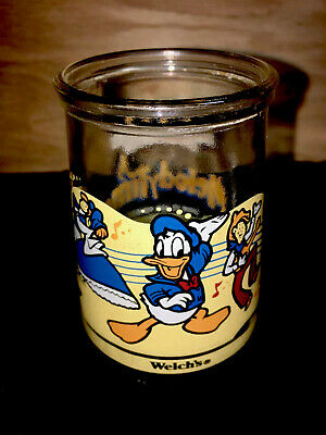 Disney Donald Duck Welch's Glass Jar Cup Melody Time Collectable Glass