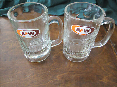 "AW A & W ROOT BEER Vintage GLASS MUG 6"" tall Set Of 2"