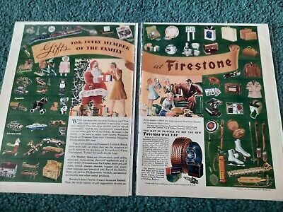 1942 Magazine Print Ad Christmas Firestone 2 Pages Vintage Santa Toys War Tire