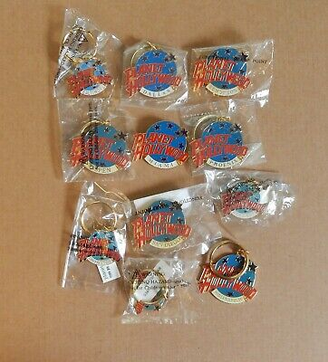 Set of 43 Planet Hollywood Pins and Key Rings, Misc Cities