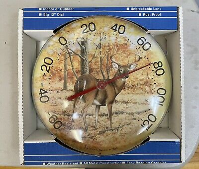 Vintage Jumbo Dial Buck Deer Thermometer Cabin Hunting White Tail
