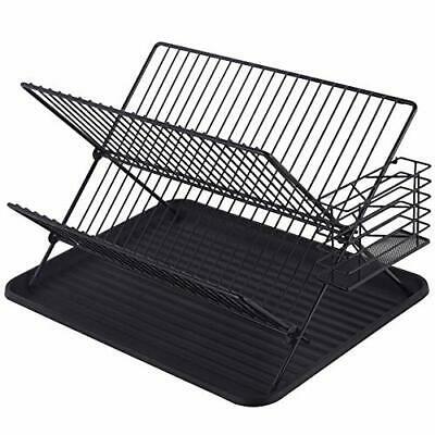 Mari Life Black Dish Drainer and Drying Rack | 2-Tier with Plate Rack, Drip Tray