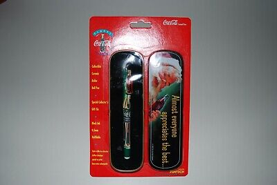 Coca Cola Coke Brand Refillable Roller Ball Pen In Santa Tin 1995 New In Package