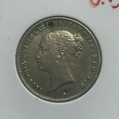 1865 Great Britain 6 Pence - Nice Details Holed