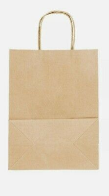 "250 Natural Brown Kraft Paper Shopping Bags with Handle, 8"" x 4 1/2"" x 10 1/4"""