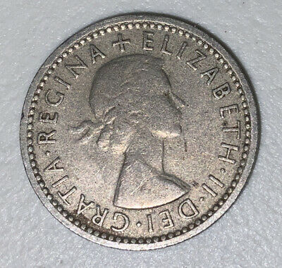 1954 Great Britain sixpence coin