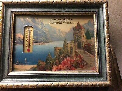 Vintage Mountain Lake Print With Thermometer And Liquor Store Advertisement