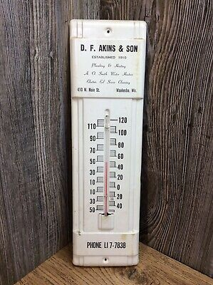 Vintage Tin Thermometer With Advertising Over 14 Inches Tall A8