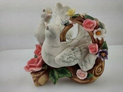 Beautiful White Porcelain Doves  On A Branch With Flowers/Roses all Around