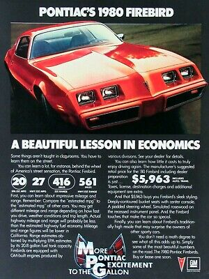 1980 Pontiac Firebird A Beautiful Lesson In Economics Original Print Ad 8.5 x 11